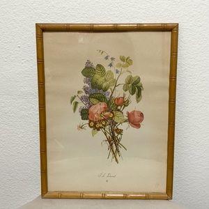 Vintage framed floral art